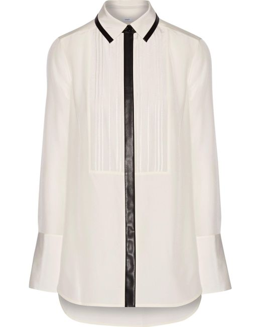 Vince | White Faux Leather-trimmed Silk-crepe Shirt | Lyst