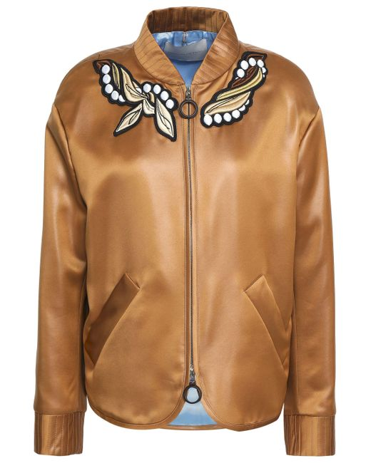 Marco De Vincenzo - Brown Embroidered Bomber Jacket - Lyst