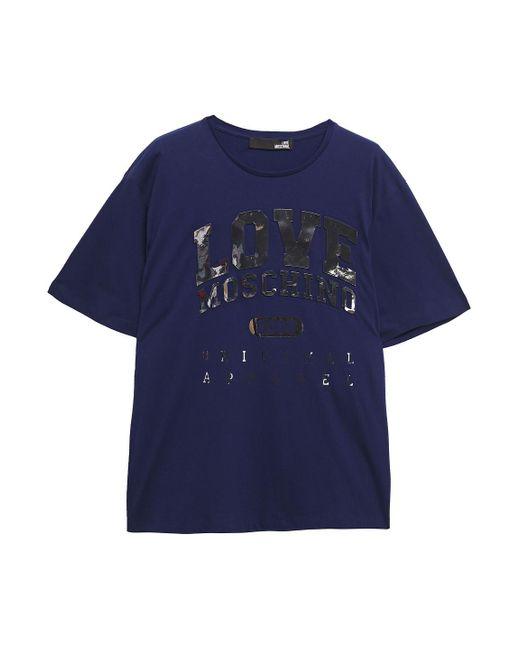 Love Moschino Blue Appliquéd Mélange Cotton-jersey T-shirt Indigo