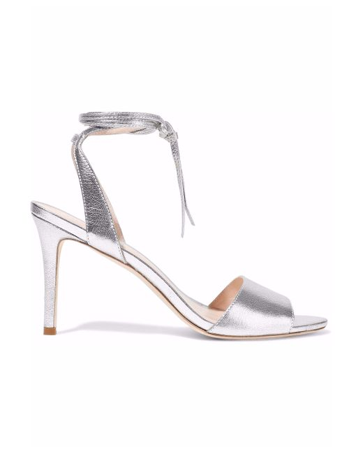 Loeffler Randall - Metallic Elyse Mirrored Textured-leather Sandals Silver - Lyst