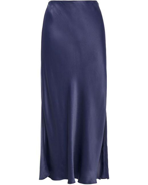 Iris & Ink Blue Brooklyn Satin Midi Skirt