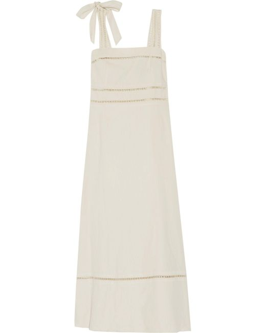 Isabel Marant - White Reign Open Knit-trimmed Linen And Cotton-blend Maxi Dress - Lyst