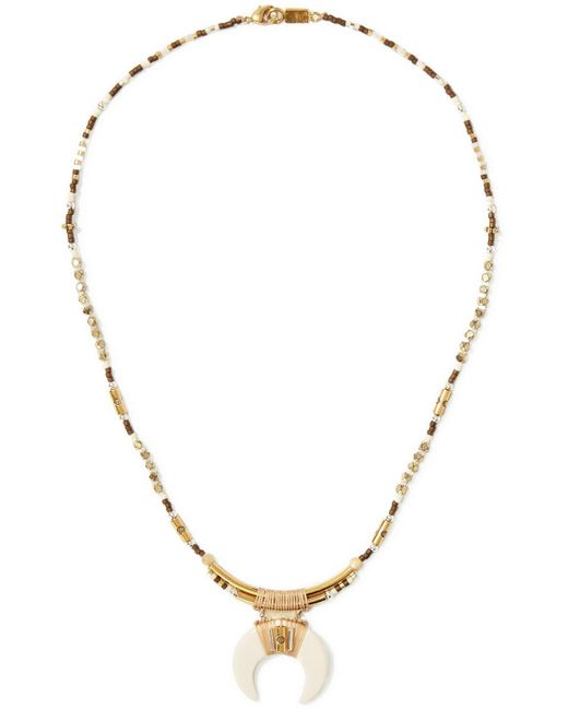 Chan Luu | Brown Gold-tone Beaded Necklace | Lyst