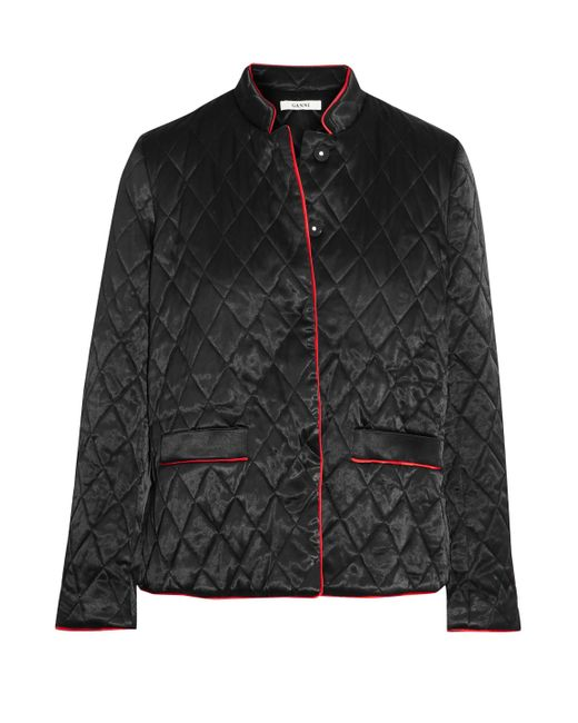 Ganni Pation Quilted Satin Jacket Black