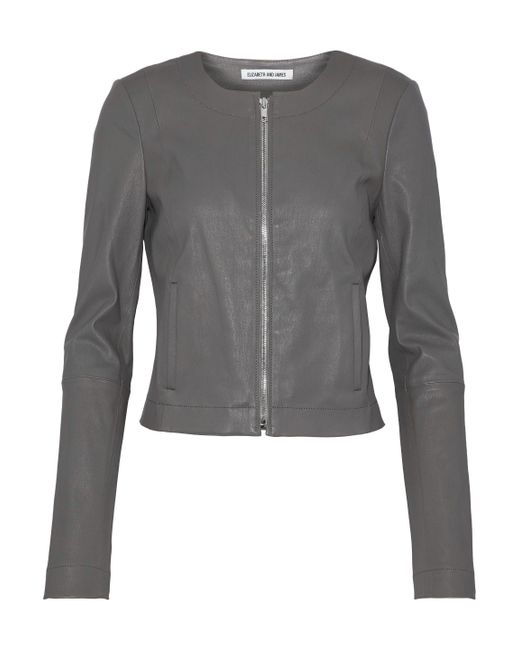 Elizabeth and James - Gray Leather Jacket - Lyst