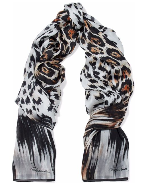 Roberto Cavalli - Black Leopard-print Silk Scarf - Lyst