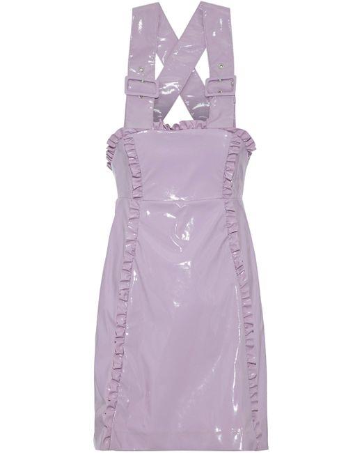 AlexaChung - Purple Ruffle-trimmed Pvc Mini Dress - Lyst