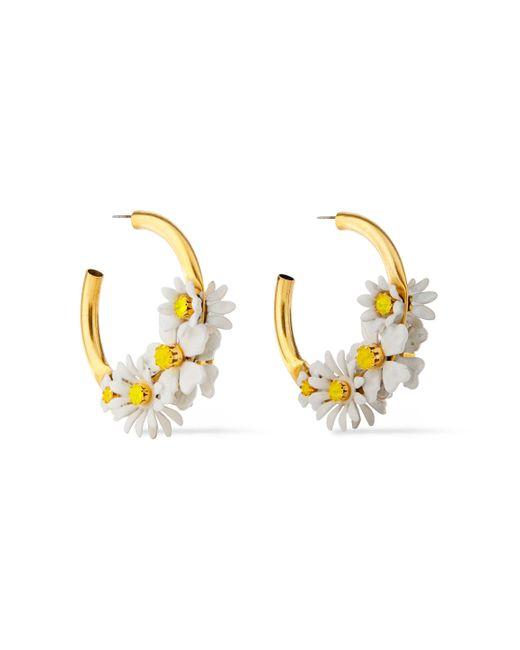 Elizabeth Cole Metallic 24-karat Gold-plated, Resin And Swarovski Crystal Hoop Earrings Gold