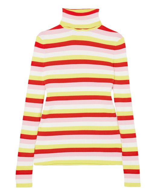 La Ligne Ribbed Striped Stretch-cotton Turtleneck Top Multicolor