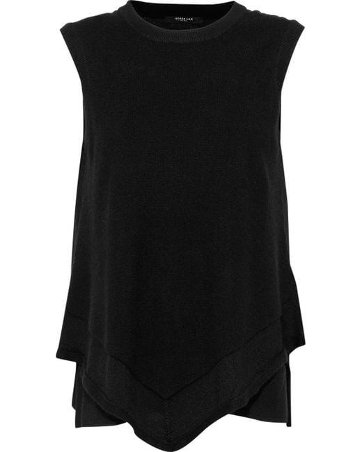 Derek Lam - Black Layered Georgette-paneled Cashmere And Silk-blend Top - Lyst