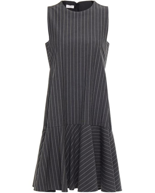 Brunello Cucinelli Gray Bead-embellished Striped Cotton-blend Dress