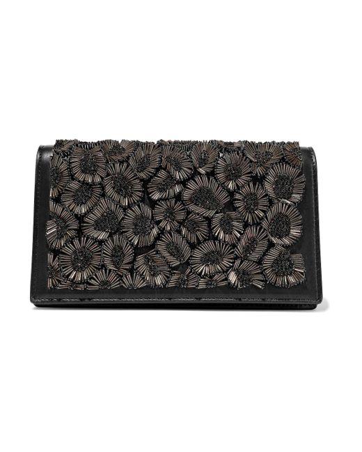 Roberto Cavalli Bead-embellished Leather Shoulder Bag Black