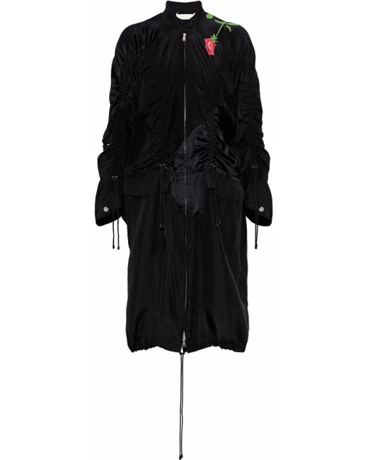 3.1 Phillip Lim - Black Paneled Ruched Printed Silk-satin Jacket - Lyst