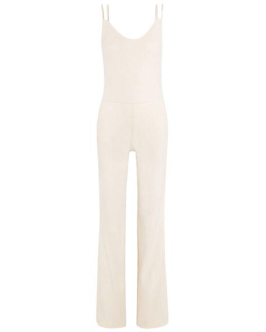 TWENTY MONTREAL White Twenty Montréal Olympic Satin-trimmed Cotton-blend Mesh Jumpsuit