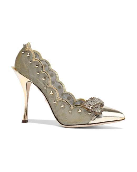 Dolce & Gabbana Metallic Lori Embellished Mirrored-leather And Mesh Pumps Gold