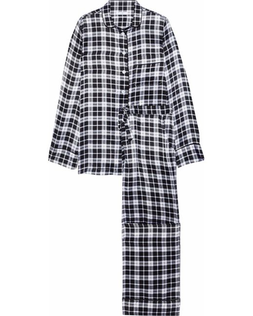 Lyst - Equipment Woman Avery Checked Washed-silk Pajama Set Black in ... 7f1ddfcde