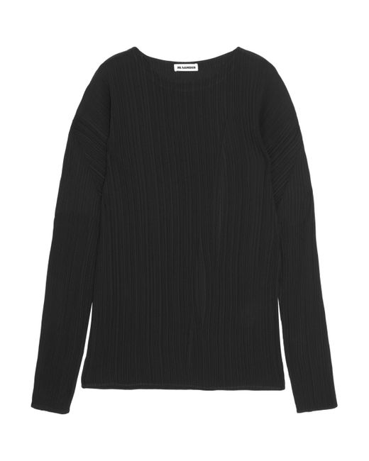 Jil Sander | Black Plissé Satin Top | Lyst