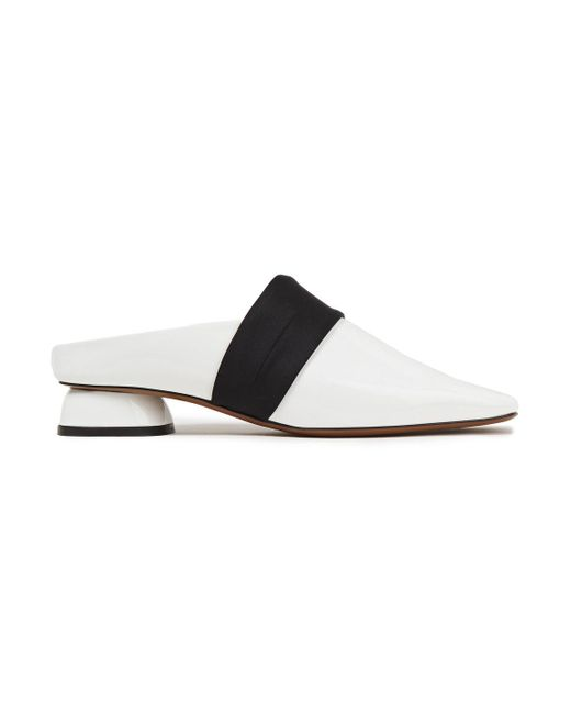 Neous White Zygo Satin-trimmed Two-tone Patent-leather Mules