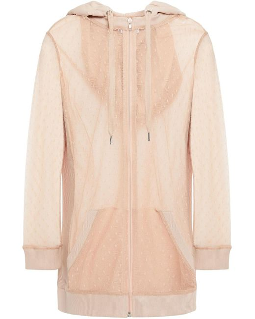 RED Valentino Multicolor Paneled French Terry And Point D'esprit Hooded Track Jacket