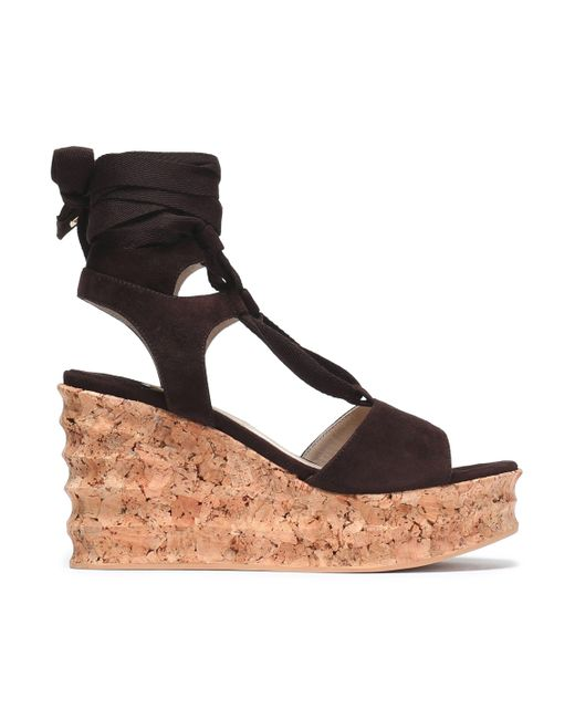 Paloma Barceló - Brown Lace-up Suede Wedge Platform Sandals - Lyst