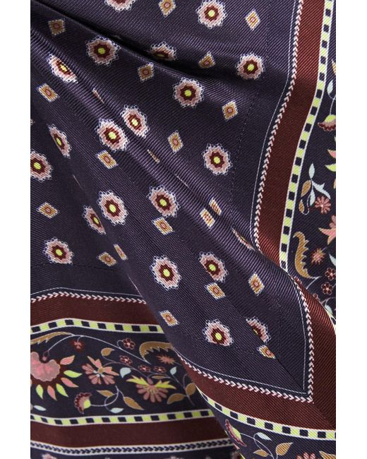 Jonathan Simkhai Blue Ruched Printed Satin-twill Dress Anthracite