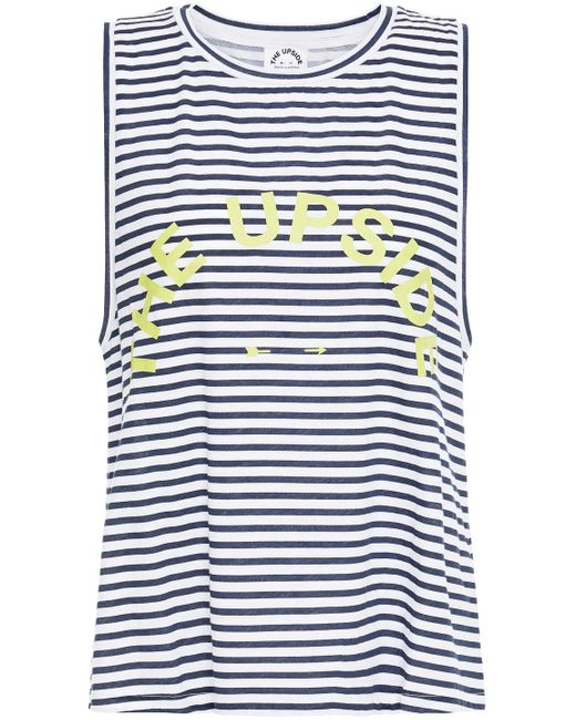 The Upside Multicolor Sarah Printed Striped Cotton-jersey Tank