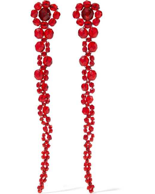 Ben-Amun - Red Beaded Silver-tone Earrings - Lyst