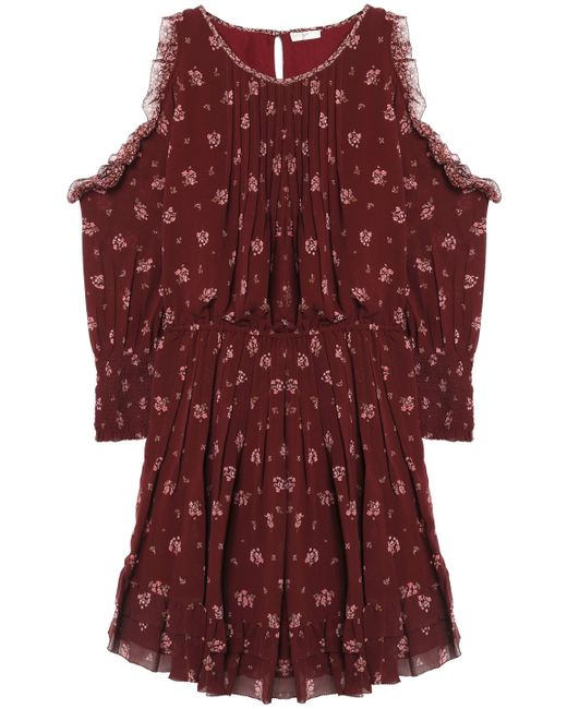 Joie - Multicolor Arleth Cold-shoulder Pleated Floral-print Silk-chiffon Dress - Lyst