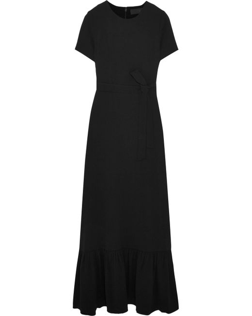 Co. - Black Belted Crepe Maxi Dress - Lyst