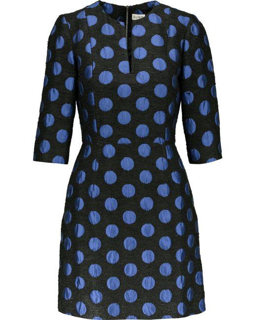 Suno   Blue Polka-dot Jacquard Mini Dress   Lyst