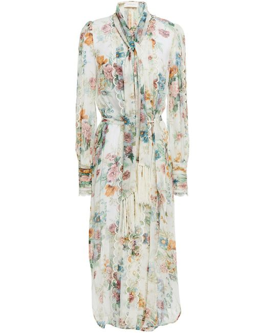 Zimmermann White Pleated Floral-print Silk-chiffon Midi Dress