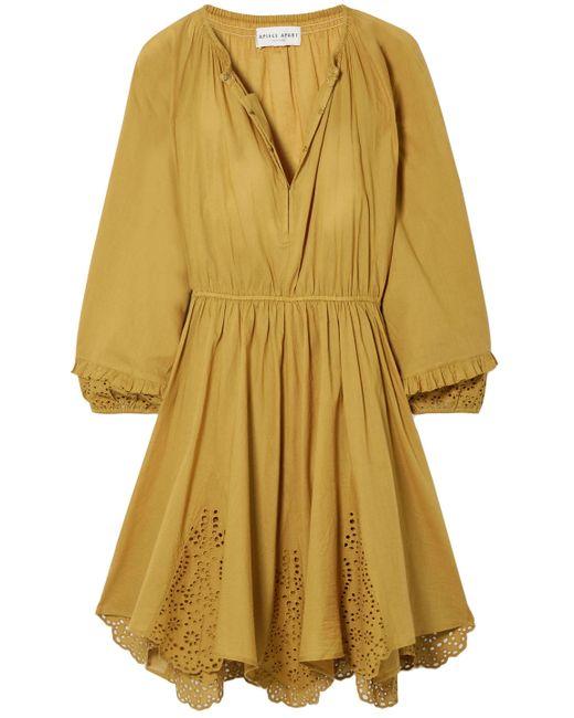 Apiece Apart Yellow Vereda Broderie Anglaise-trimmed Gathered Cotton Mini Dress Mustard