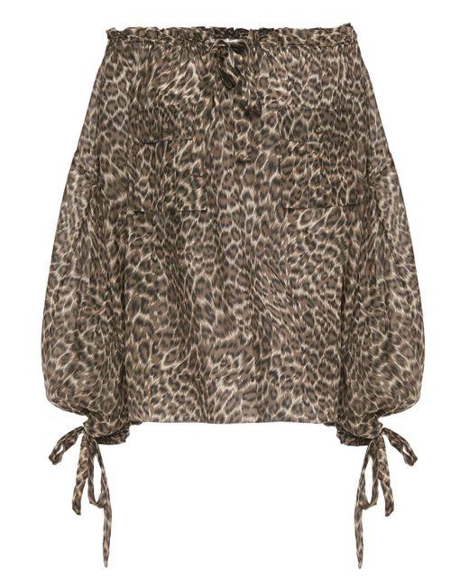 Zimmermann Multicolor Suraya Off-the-shoulder Leopard-print Silk Crepe De Chine Blouse Animal Print
