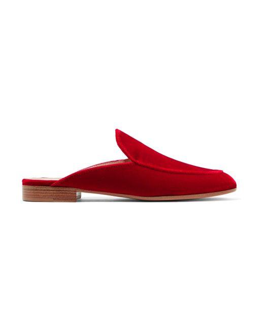 Gianvito Rossi - Red Velvet Slippers - Lyst