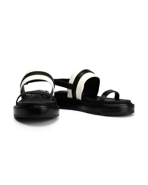 4e190f448fce ... DKNY - Black Two-tone Leather Sandals - Lyst