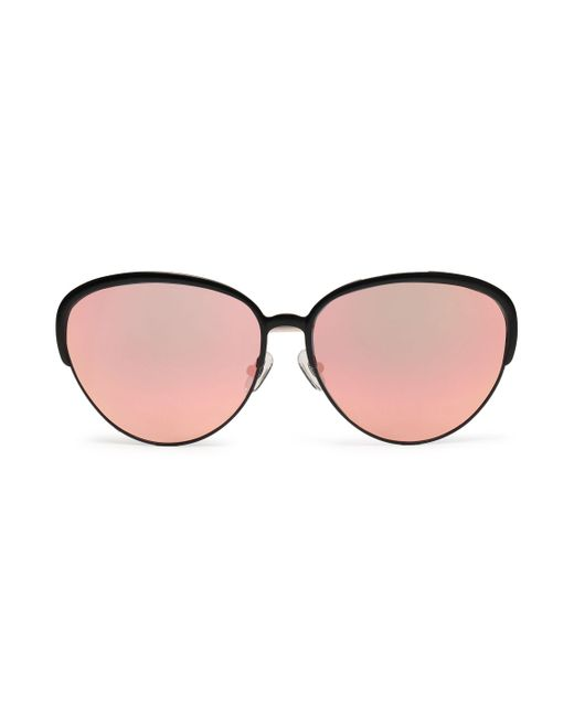 Matthew Williamson - Black Oval-frame Acetate And Gold-tone Mirrored Sunglasses - Lyst