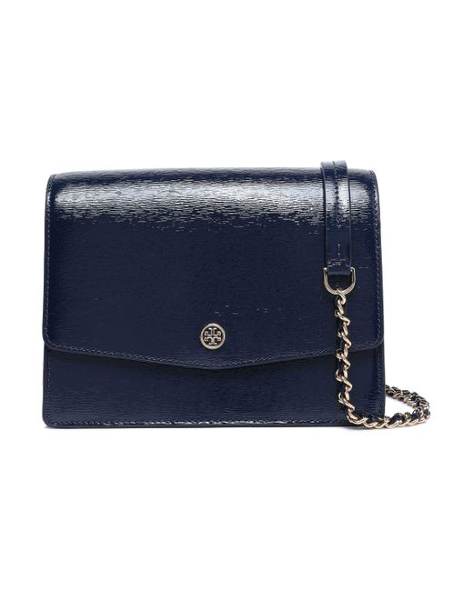 Tory Burch Blue Cracked Patent-leather Shoulder Bag Navy