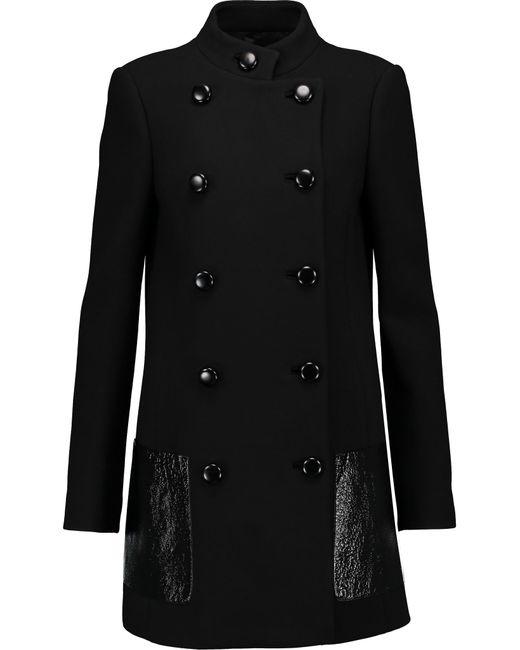 Michael Kors | Black Leather-trimmed Wool Coat | Lyst