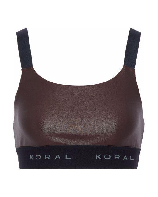 Koral - Brown Dare Cutout Coated Stretch Sports Bra - Lyst