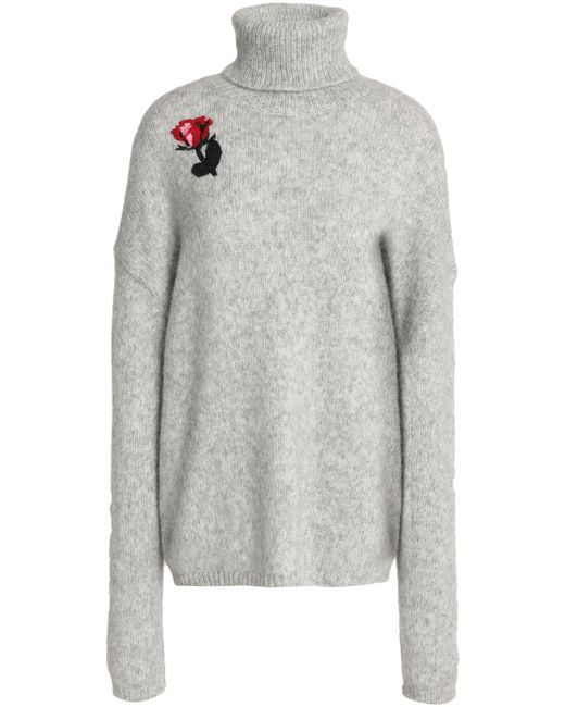 Markus Lupfer - Woman Embellished Alpaca-blend Turtleneck Sweater Light Gray - Lyst