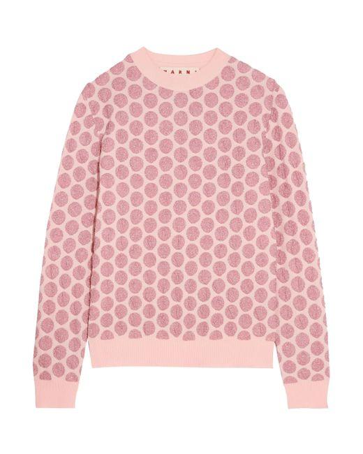Marni - Woman Metallic Jacquard-knit Sweater Baby Pink - Lyst
