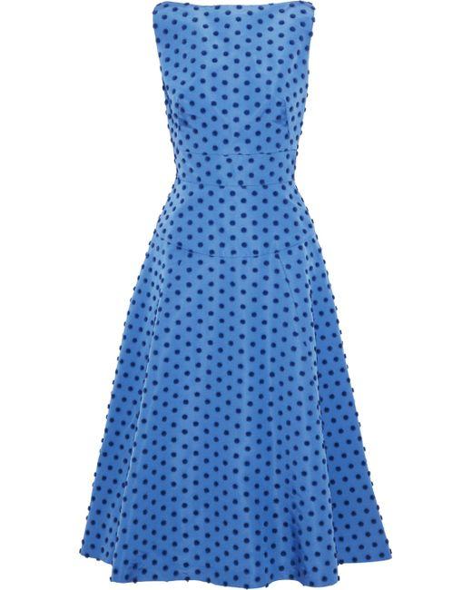 Lela Rose - Blue Flocked Silk-faille Midi Dress - Lyst
