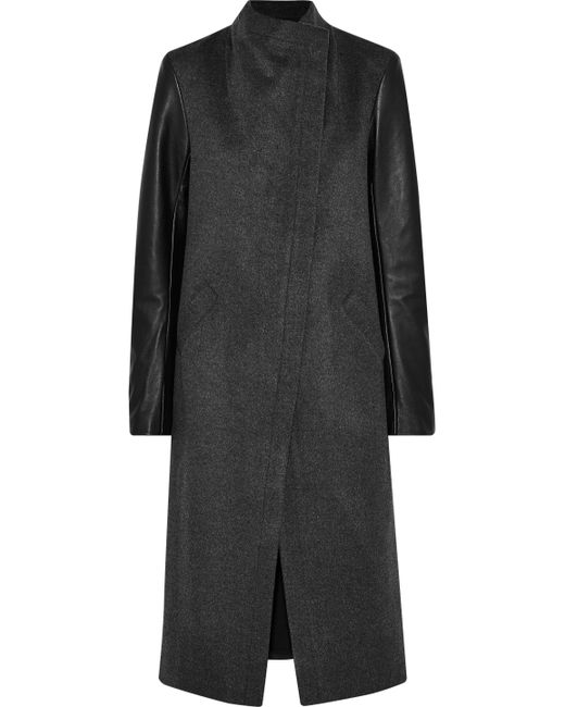 VEDA - Black Cadillac Leather-paneled Wool-blend Coat - Lyst
