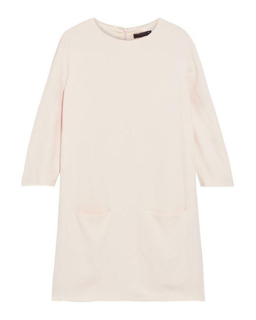 The Row Natural Marina Crepe Mini Dress Cream