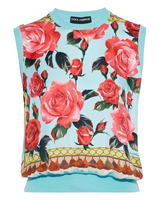 Dolce & Gabbana Blue Floral-print Faille-paneled Silk Top Turquoise