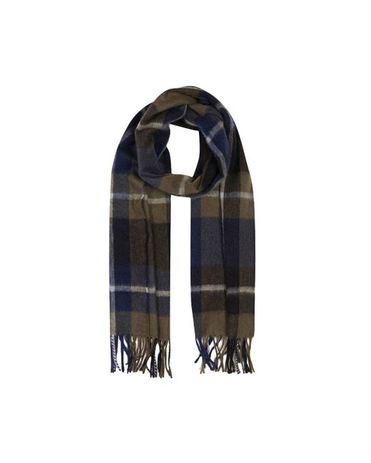 Begg & Co - Gray Grey And Navy Lambswool And Angora Jura Scarf for Men - Lyst