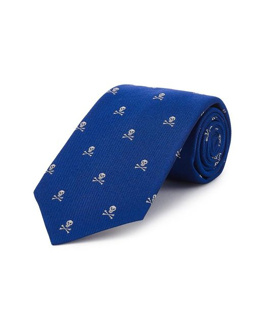 New & Lingwood Royal Blue Skull And Crossbones Silk Tie for men