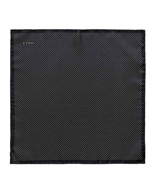 Eton of Sweden Black Silk Fine Polka Dot Pocket Square for men