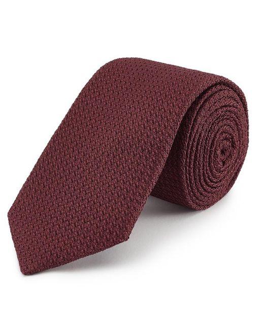 New & Lingwood Dark Red Grenadine Weave Silk Tie for men