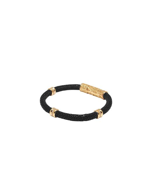Nialaya - Black Stingray Bracelet With Gold Ring Accents for Men - Lyst